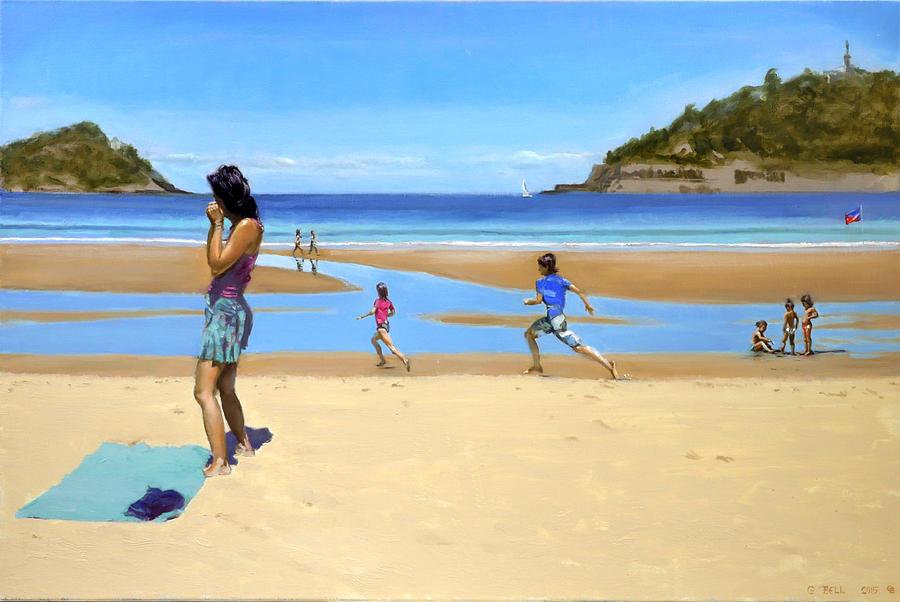 Beach Painting - The Girl At La Concha Beach by Gordon Bell