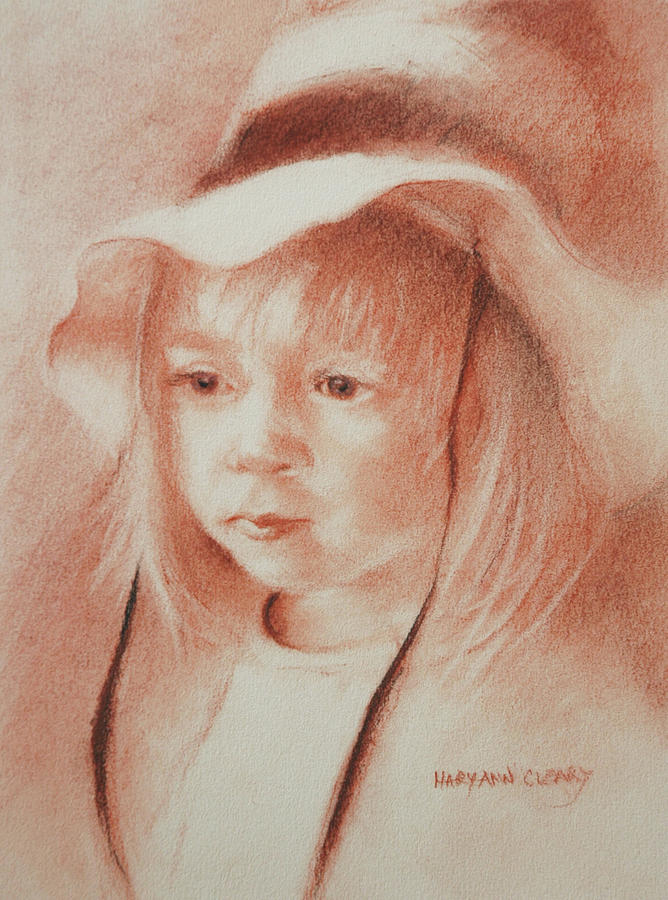 Girl Drawing - The Girl In The Hat by MaryAnn Cleary