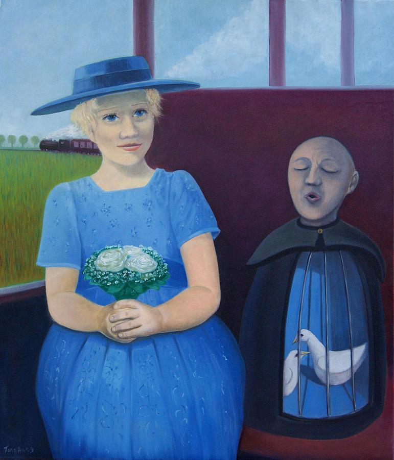 Art Sanctuary Painting - The Girl On The Train by Tone Aanderaa