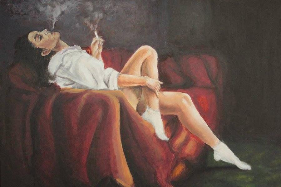 The girl smoking Painting by Mariana Cociurca