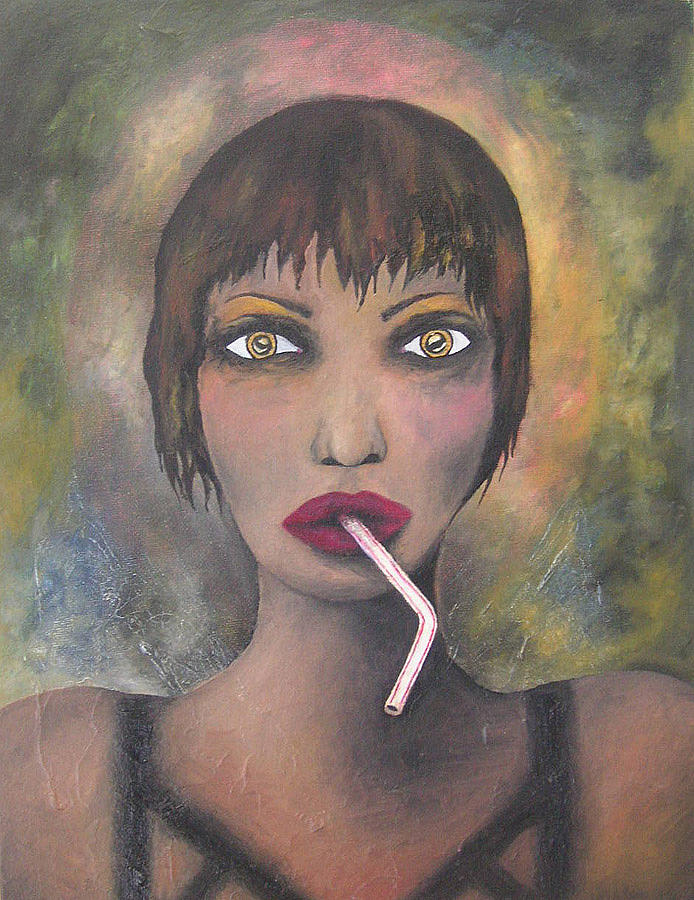 Straw Painting - The Girl With The Straw by Janina Magnusson