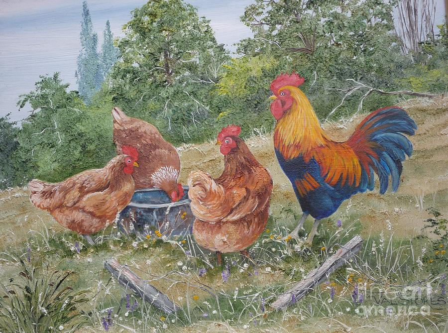 Rooster Painting - The Girls And Big Daddy by Val Stokes