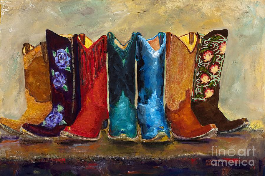 Cowboy Boots Painting - The Girls Are Back In Town by Frances Marino