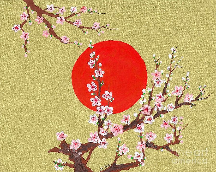Sakura Flower Painting - The Glory Morning Sakura by Renu Martin