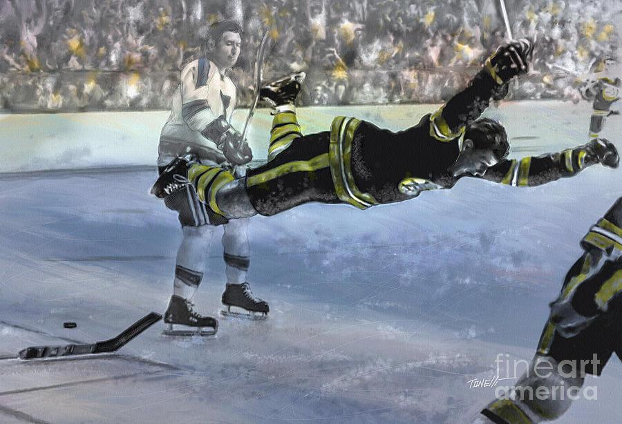 Hockey Mixed Media - The Goal Bobby Orr Art by Mark Tonelli