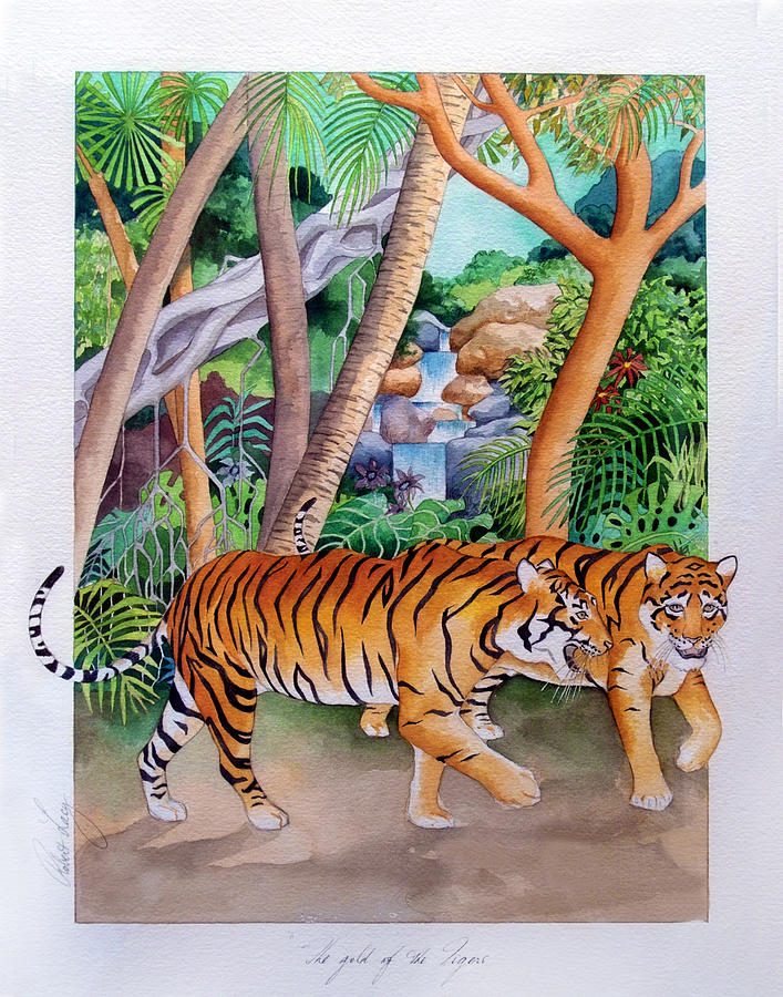 Tiger Painting - The Gold Of The Tigers by Robert Lacy