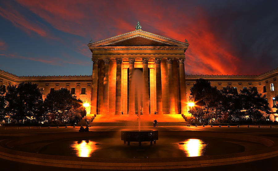 Sunset Photograph - The Golden Columns - Philadelphia Museum Of Art - Sunset by Lee Dos Santos