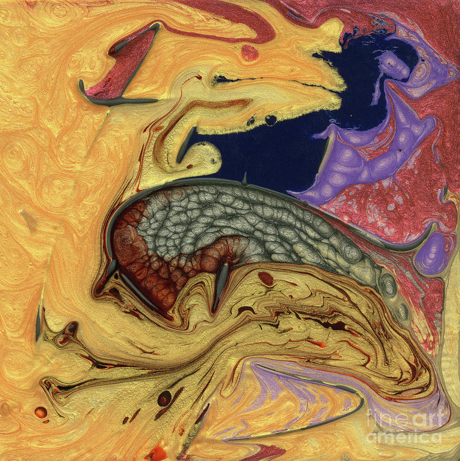 Yellow Mixed Media - The Golden Fish by Terry McConnell