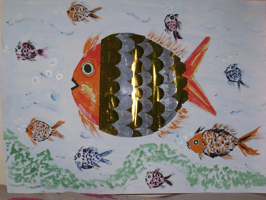 Fish Drawing - The Golden Fish by Vijay Abhyankar