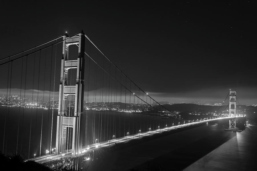 The Golden Gate Bridge In San Francisco At Night Black And White