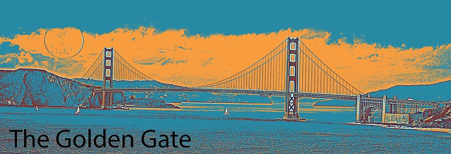 Nature Painting - The Golden Gate Bridge In Sfo California Travel Poster 2 by Celestial Images