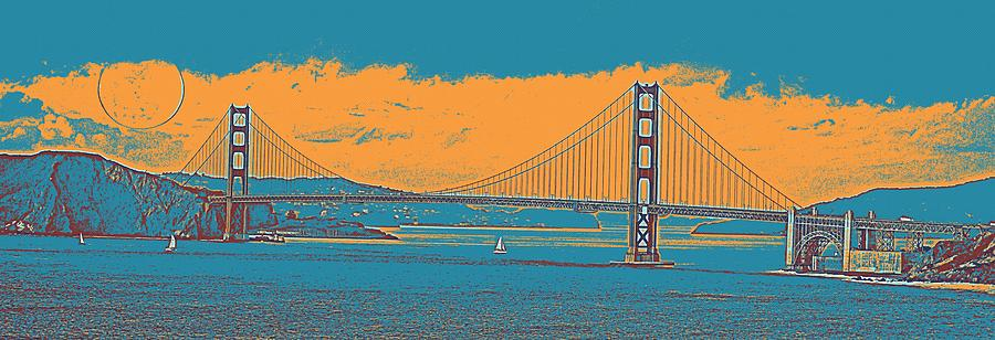 Nature Painting - The Golden Gate Bridge In Sfo California Travel Poster by Celestial Images