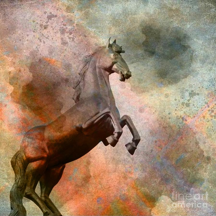 3d Digital Art - The Golden Horse by Issabild -