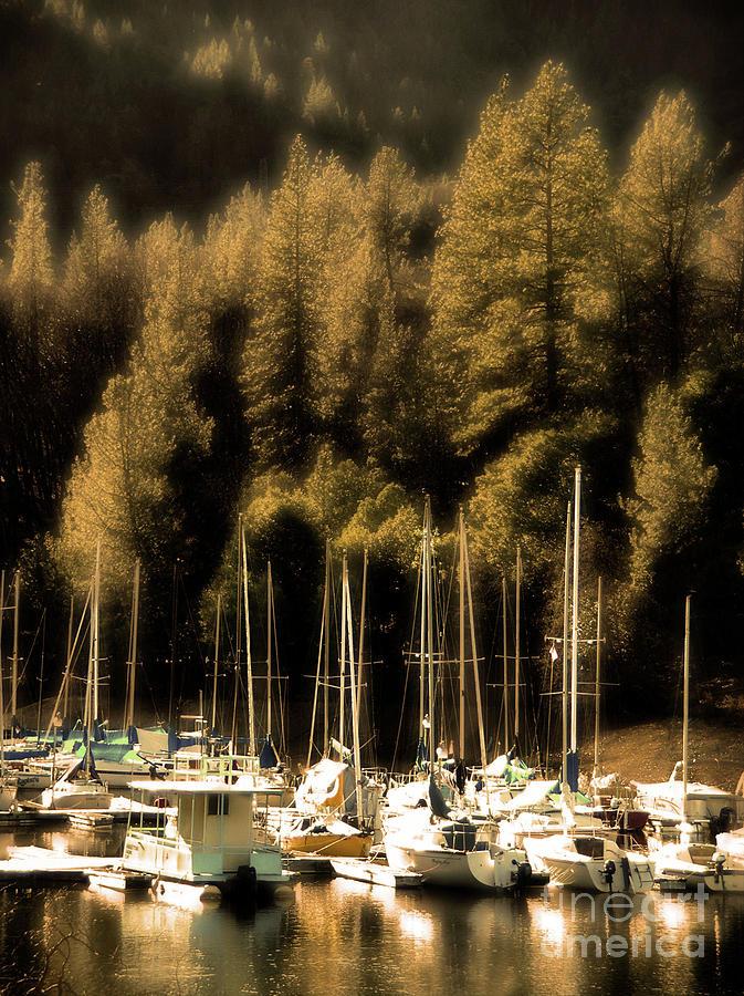 Boats Photograph - The Golden Hour by Lynn Brunn