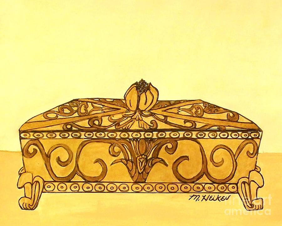 India Ink Painting - The Golden Jewelry Box by Marsha Heiken