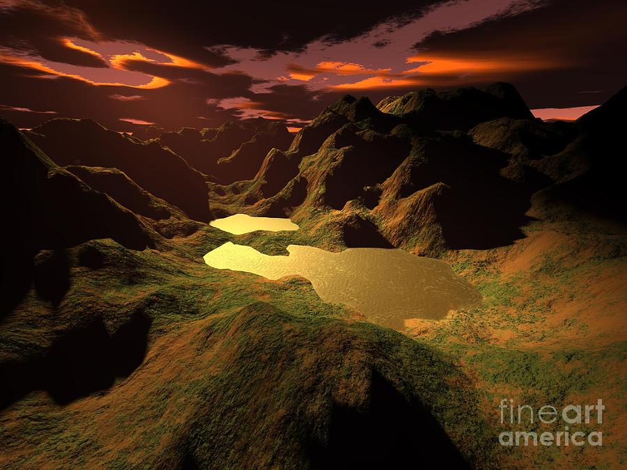 Dramatic Digital Art - The Golden Lake by Gaspar Avila