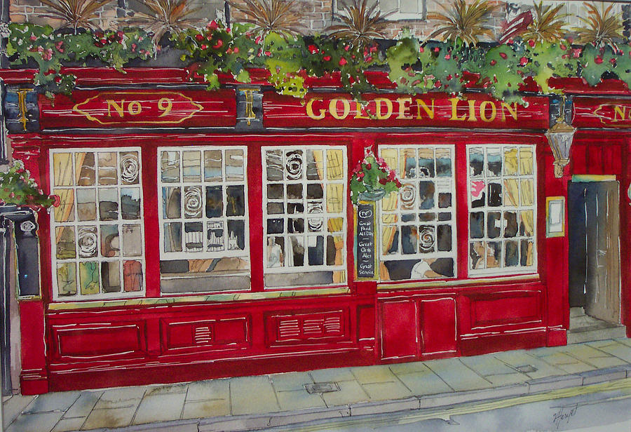 England Painting - The Golden Lion Pub by Victoria Heryet