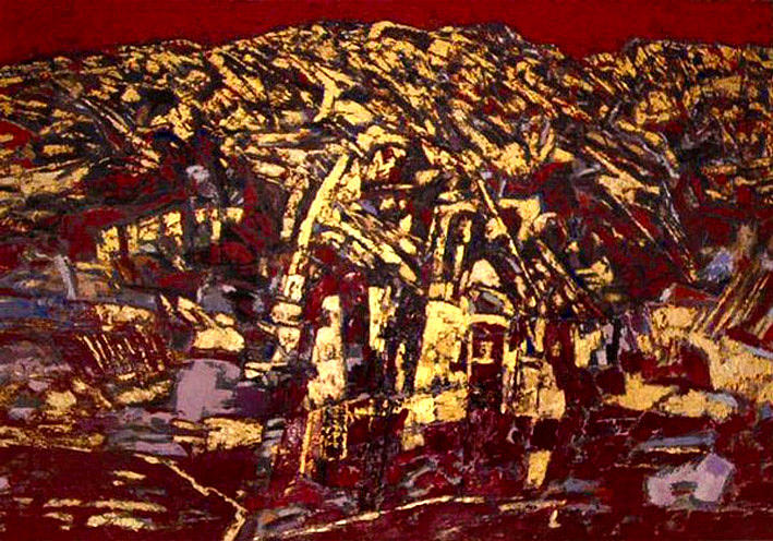 Landscape Painting - The Golden Mont Sinjajevina by Vladimir Vlahovic