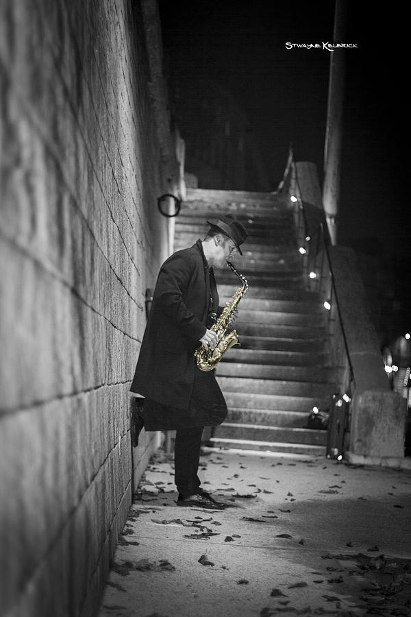 Black And White Photograph - The Golden Saxophone Player by Stwayne Keubrick