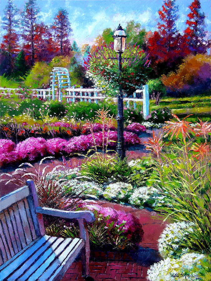 Garden Path Painting - The Golden Season by John Lautermilch
