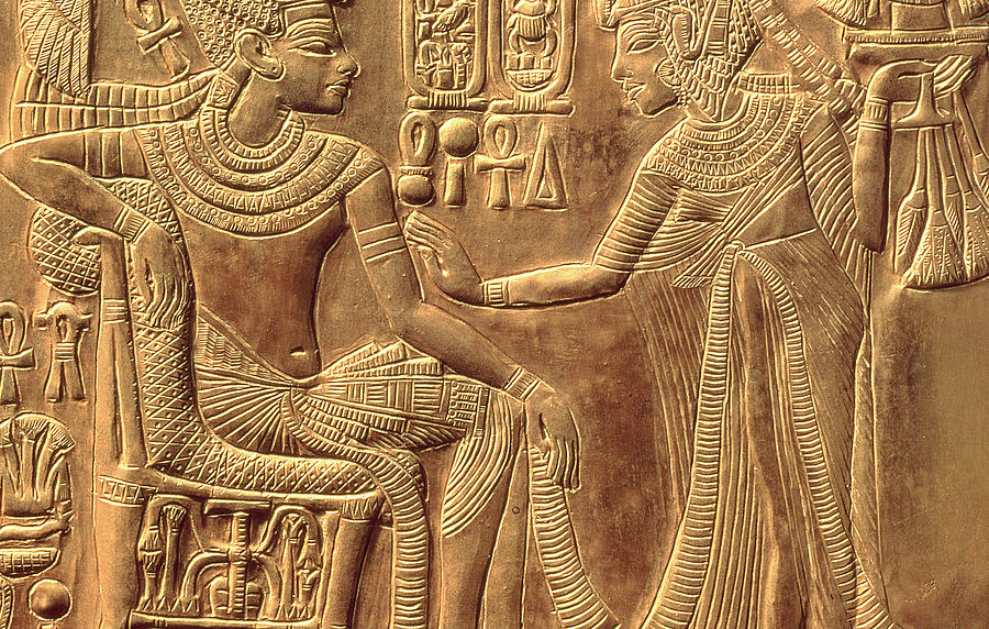 Detail Relief - The Golden Shrine Of Tutankhamun by Egyptian Dynasty