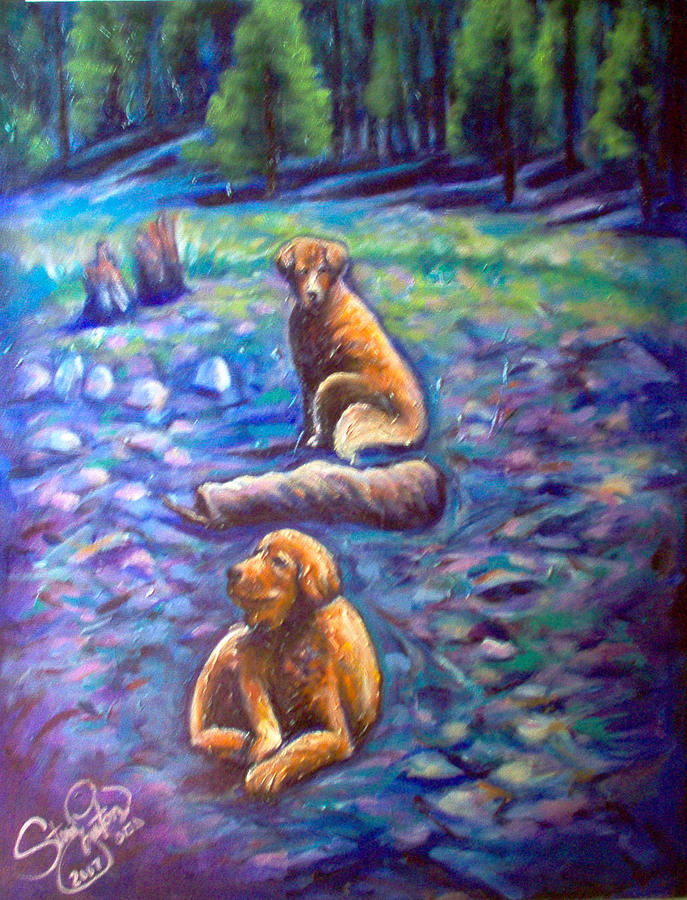 Animals Painting - The Goldens by Steve Lawton