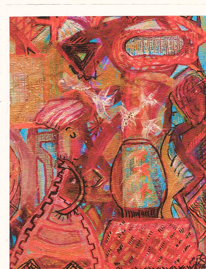 Impressionistic Mixed Media - The Goldfish Bowl by Anne-Elizabeth Whiteway