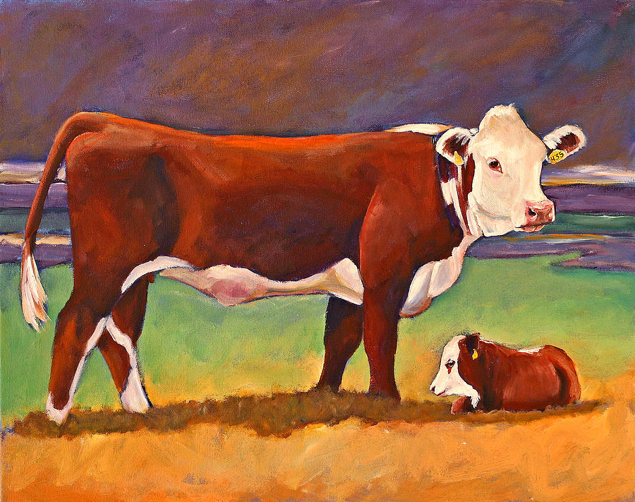 The good mom folk art hereford cow and calf painting by for Cow painting print