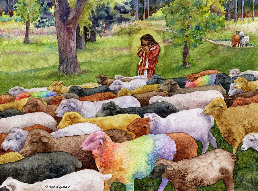 Animal Painting Painting - The Good Shepherd by Anne Gifford
