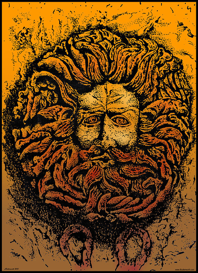 Monuments Drawing - The Gorgon Man Celtic Snake Head by Larry Butterworth