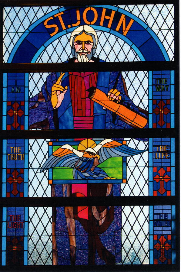 Stained Glass Church Window Glass Art - The Gospel Of St. John by Alan Carlson