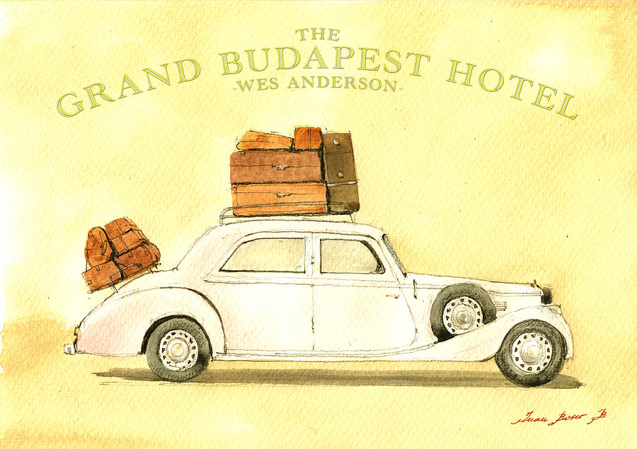 Wes Anderson Print Painting - The Grand Budapest Hotel Watercolor Painting by Juan  Bosco