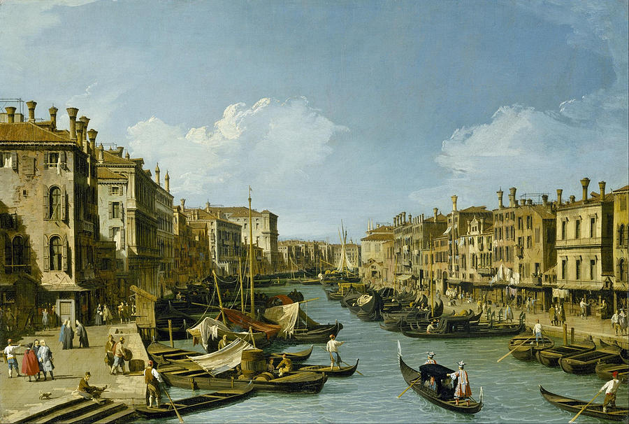 Canaletto Painting - The Grand Canal Near The Rialto Bridge. Venice by Canaletto