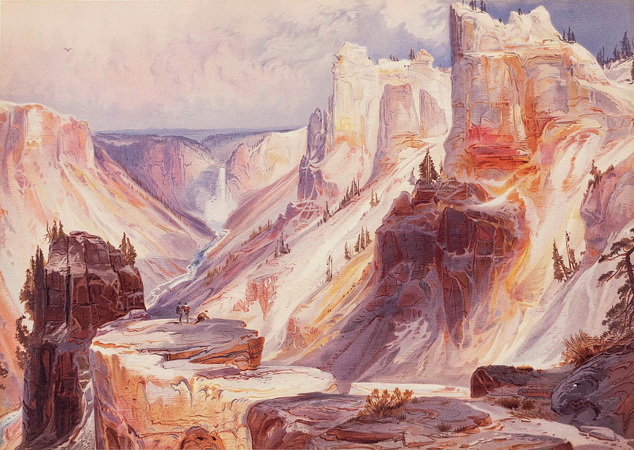 Moran Painting - The Grand Canon Of The Yellowstone, Yellowstone National Park by Thomas Moran
