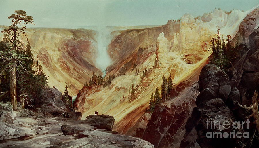 National Park Painting - The Grand Canyon of the Yellowstone by Thomas Moran