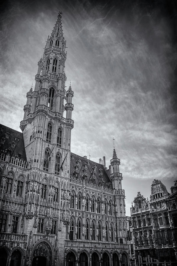 Brussels Photograph - The Grandeur Of The Grand Place Brussels In Black And White  by Carol Japp
