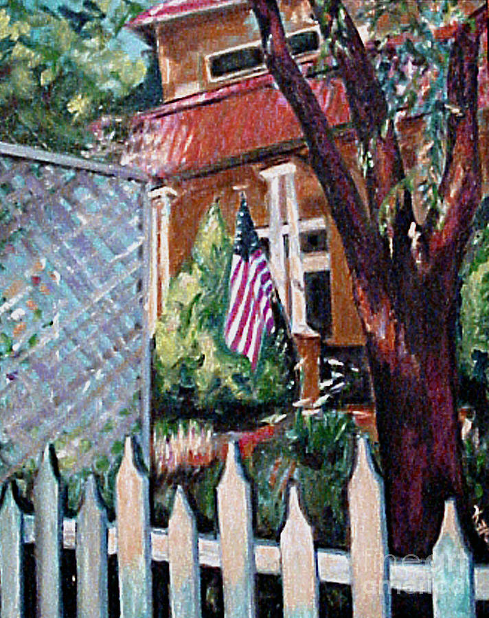 Flag Painting - The Grant House by Karen Francis