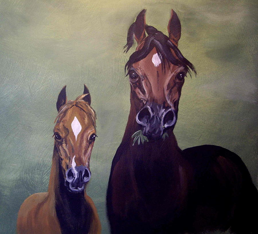 Horse Painting - The Grass is Always Greener by Glenda Smith