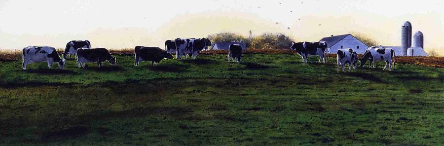 Cows Painting - The Grass Is Greener by Denny Bond