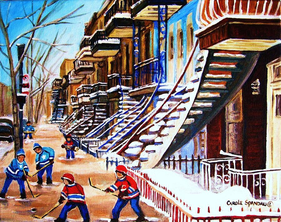 Hockey Painting - The Gray Staircase by Carole Spandau