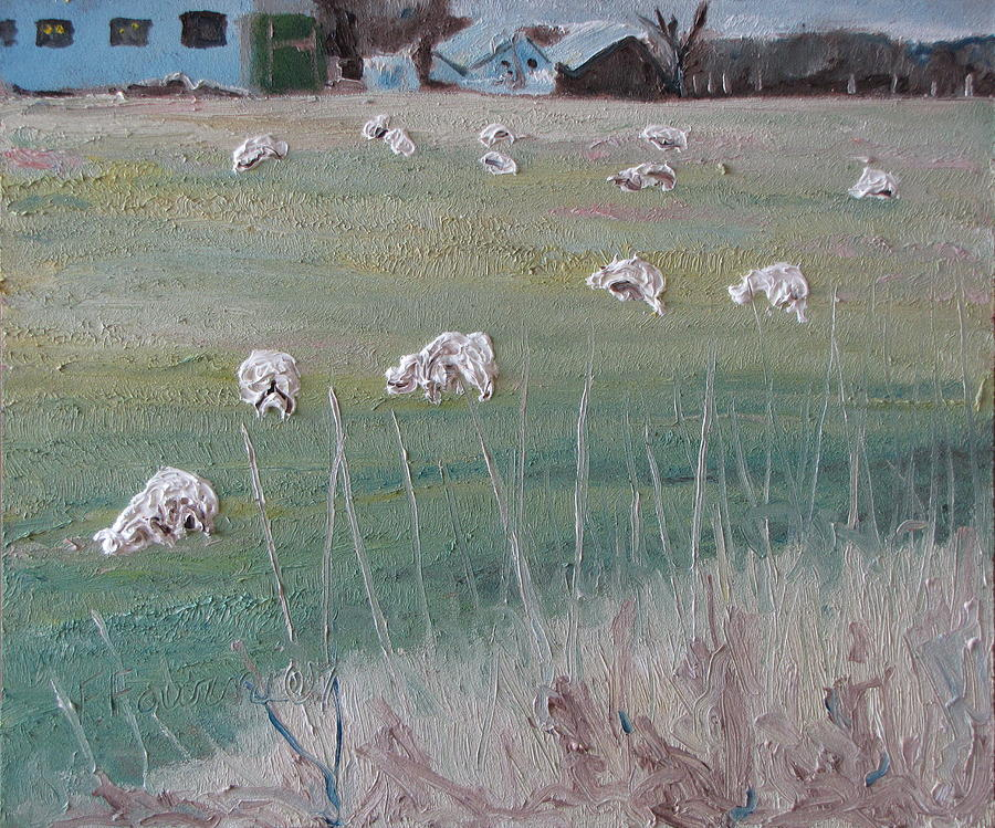 Fournier Painting - The Grazing Sheep by Francois Fournier