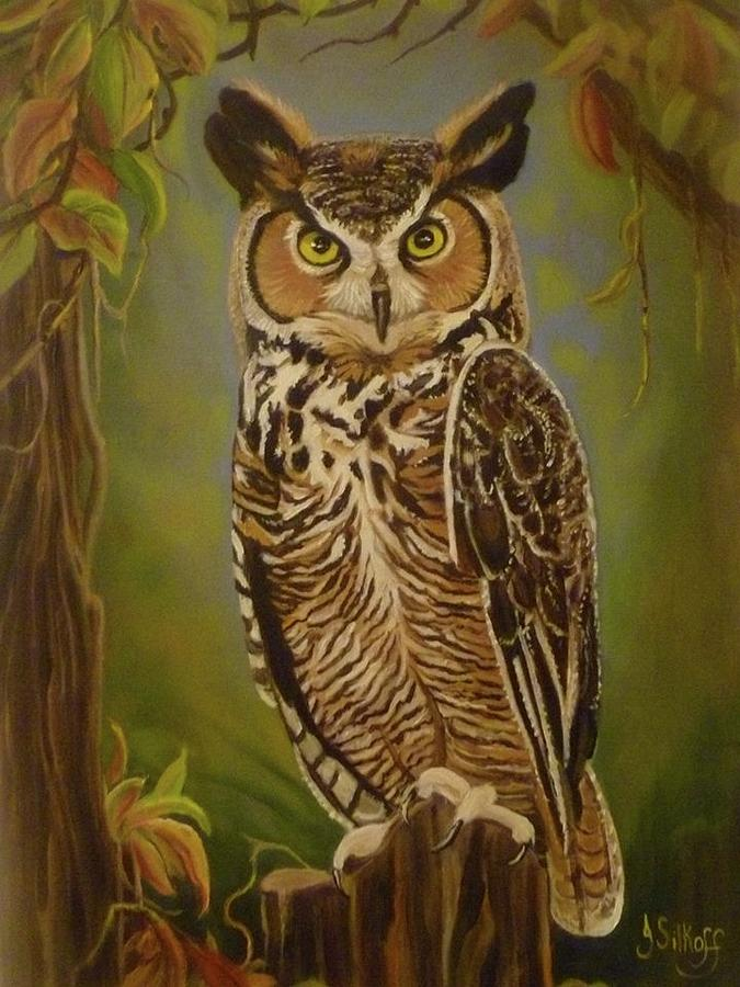Wild Life Painting - The Great Horned Owl by Janet Silkoff