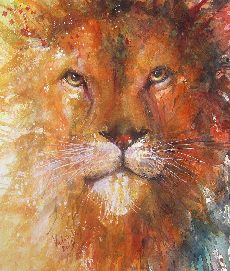 Lion Painting - The Great Lion by Violeta Damjanovic-Behrendt