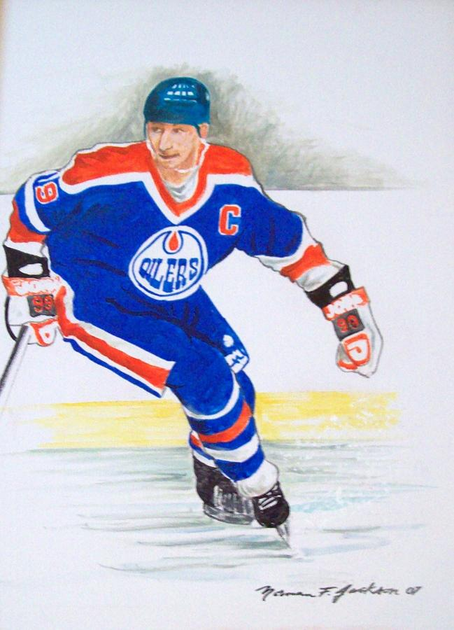 Hockey Painting - The Great One by Norman F Jackson