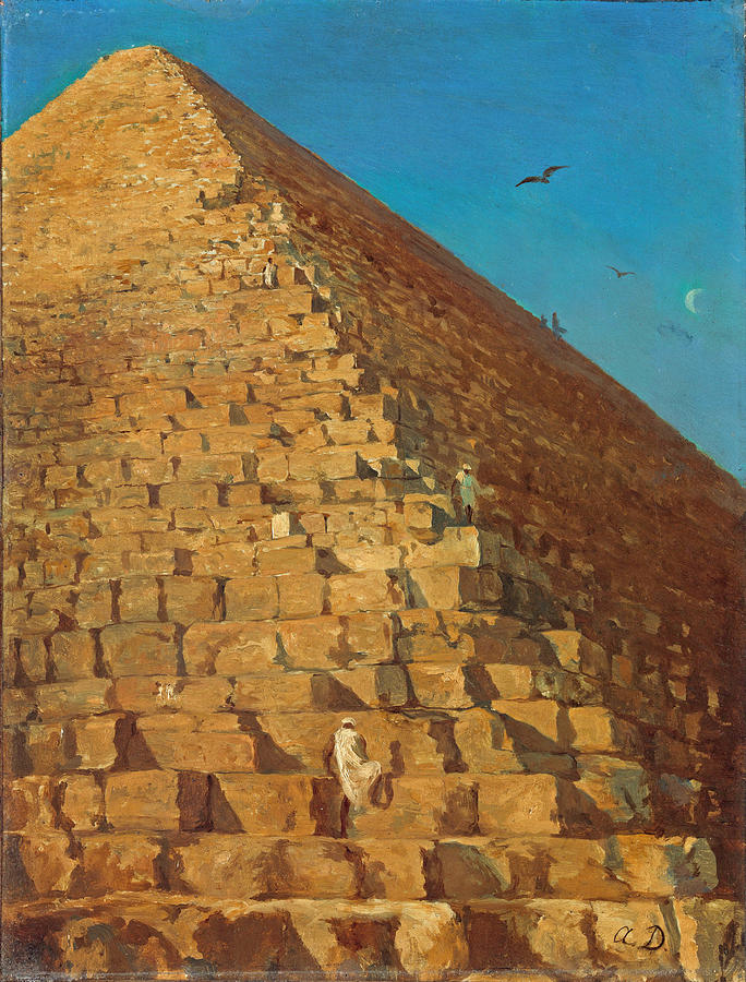 The Great Pyramid Painting - The Great Pyramid. Giza by Adrien Dauzats