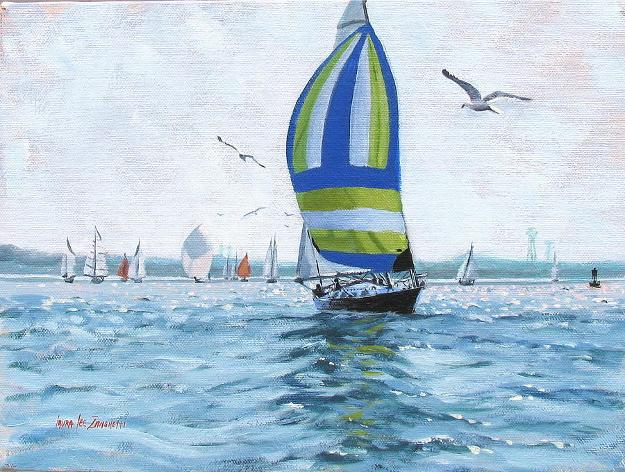 Oil Painting Painting - The Great Race 06 by Laura Lee Zanghetti