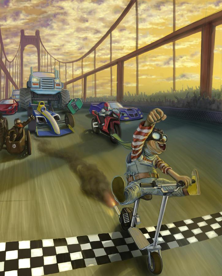 Children Painting - The Great Race by Nicholas Bockelman