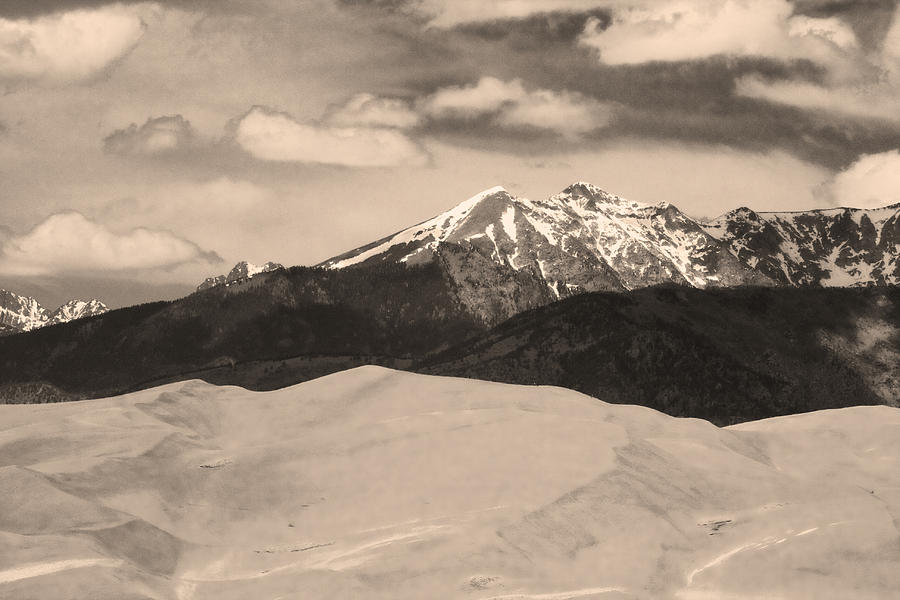 The Great Sand Dunes And Sangre De Cristo Mountains - Sepia Photograph by James BO  Insogna