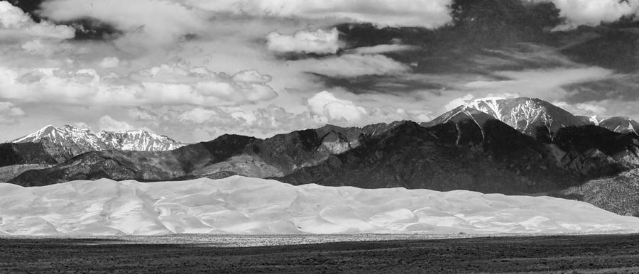 The Great Colorado Sand Dunes; Great Sand Dunes National Park And Preserve; Black And White Sand Dunes Panorama Prints; Black And White Sand Dunes Panorama  Photograph - The Great Sand Dunes Panorama 2 by James BO  Insogna
