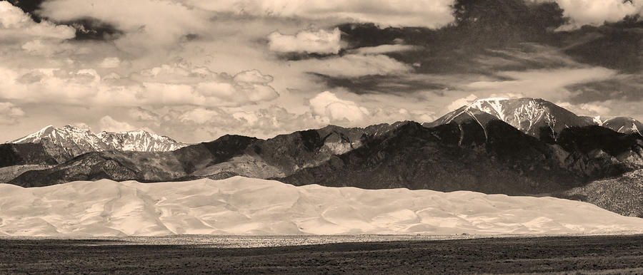 The Great Colorado Sand Dunes; Great Sand Dunes National Park And Preserve; Sepia Sand Dunes Panorama Prints; Sepia Sand Dunes Panorama Canvas Art; Colorado; Sand;  Unes; Nature Photography Prints; Landscape   Photograph - The Great Sand Dunes Panorama 2 Sepia by James BO  Insogna